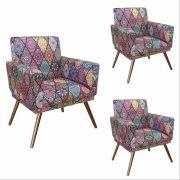 Kit 03 Poltrona Decorativa Nina com rodapé Mosaico