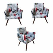 Kit 03 Poltronas Decorativa Nina Paris