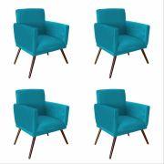 Kit 04 Poltrona Decorativa Nina com rodapés Azul