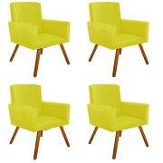 Kit 04 Poltronas Decorativa Nina Suede Amarelo