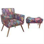 Kit Poltrona Decorativa Nina com rodapé e Puff retangular Mosaico