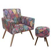 Kit Poltrona Decorativa Nina e Puff redondo Mosaico