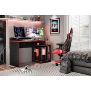 Mesa Gamer Play Preto Fosco Liso Vermelho - Móveis Albatroz