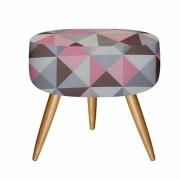 Puff decorativo redondo triangulo rosa