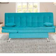 Sofá-cama Lugano Suede Azul Turquesa-Bela Casa