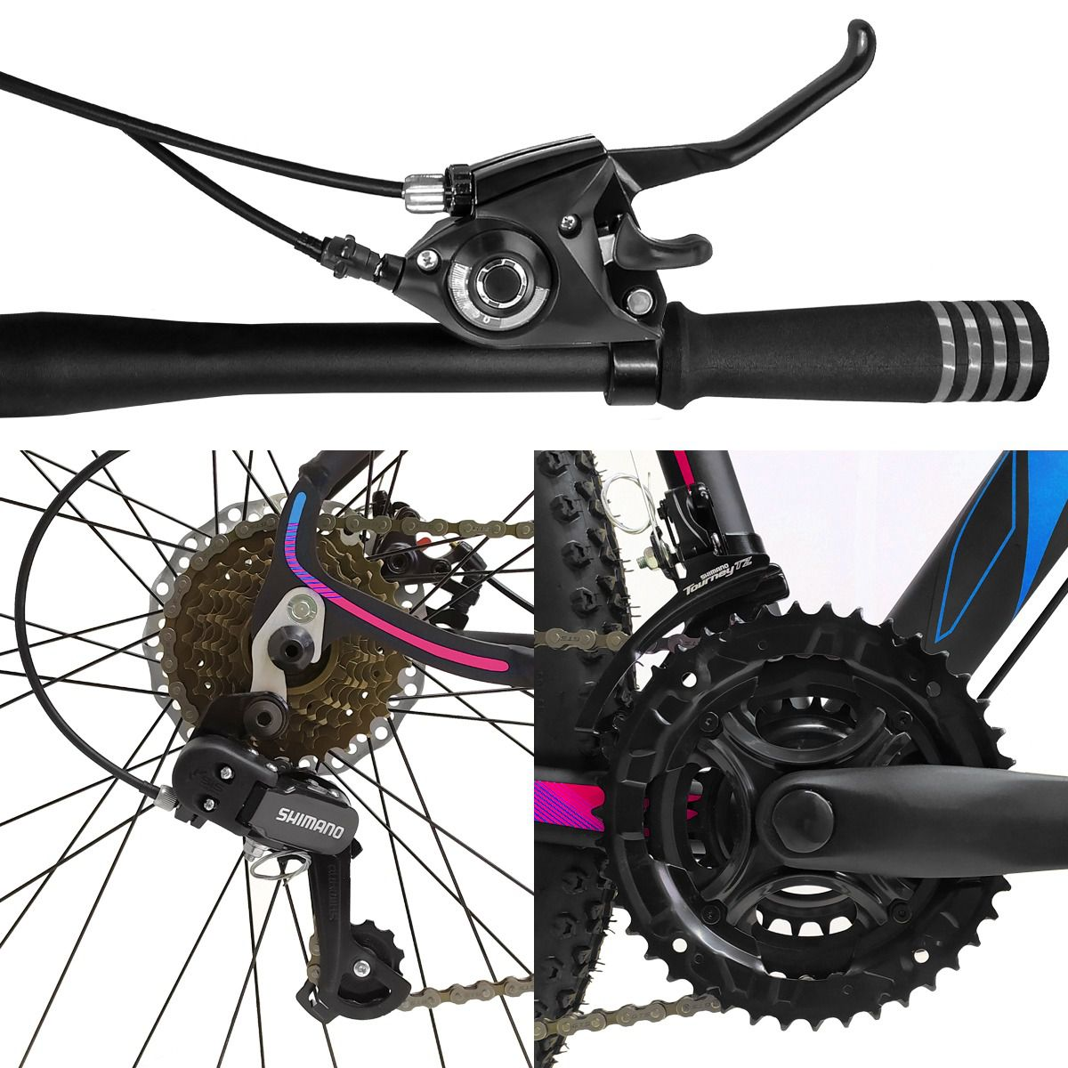 Bicicleta Aro 29 Dropp Z3 21v Câmbios Shimano Freio a Disco Mecânico Quadro 15 Preto/Azul/Rosa