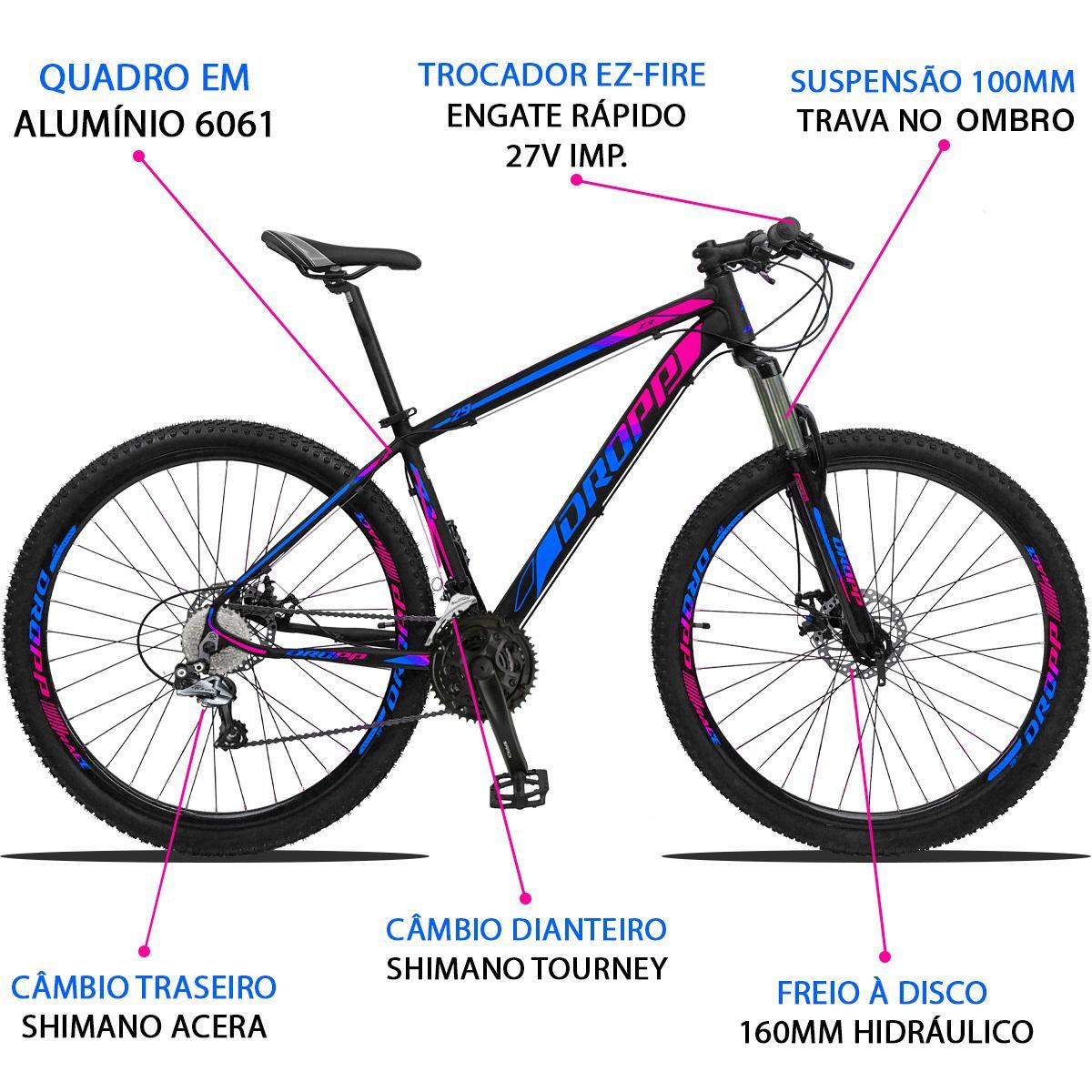 Bicicleta Aro 29 Dropp Z3 27v Câmbio Traseiro Acera Freio Hidráulico Suspensão com Trava Quadro 15 Preto/Azul/Rosa