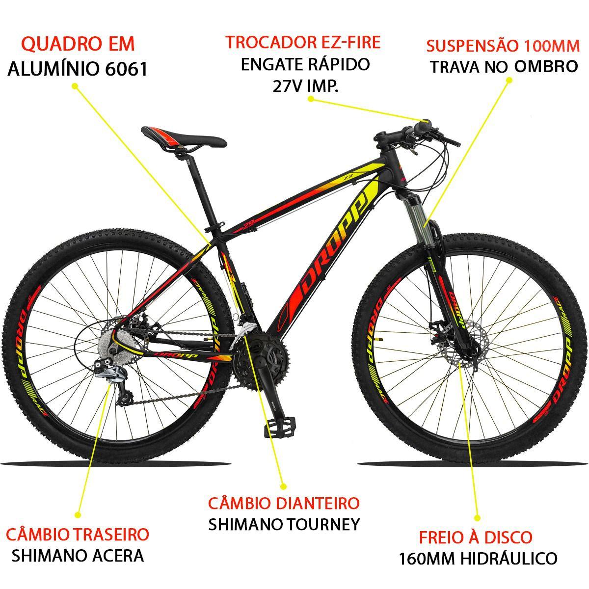 Bicicleta Aro 29 Dropp Z3 27v Câmbio Traseiro Acera Freio Hidráulico Suspensão com Trava Quadro 21 Preto/Amarelo/Vermelho