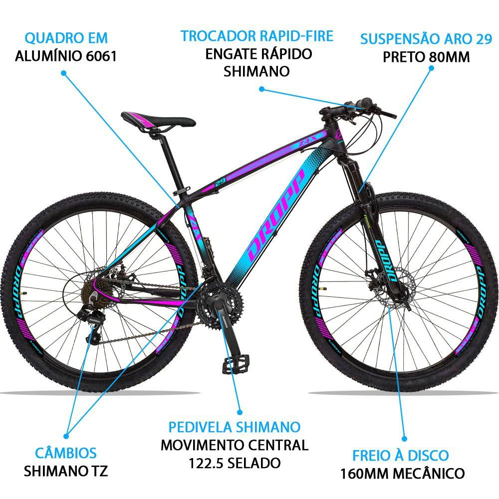 Bicicleta Aro 29 Dropp Z4x 21v Câmbios Shimano Freio a Disco Mecânico Quadro 21 Preto/Azul/Rosa
