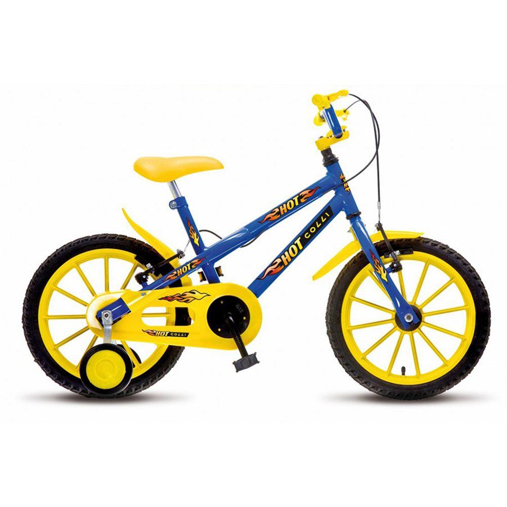 Bicicleta Colli MTB Hot Aro16 Masculino Azul Amarelo