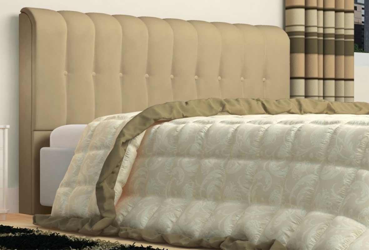Cabeceira Kiara 100cm Tecido Sintético Bege Solteiro