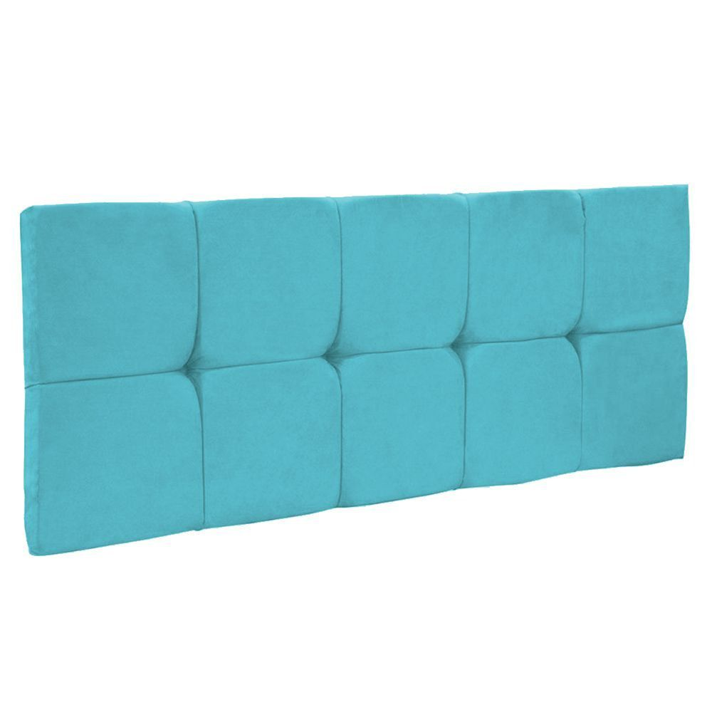 Cabeceira Painel Nina Solteiro 100 cm Suede Azul Turquesa