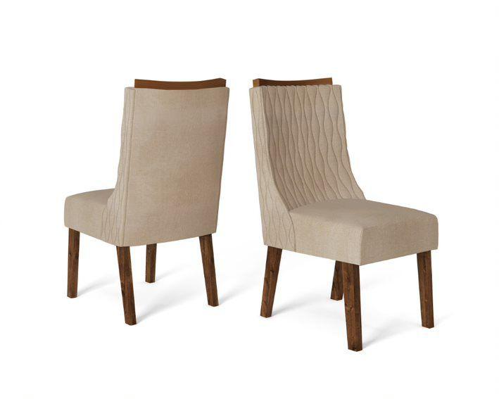 Cadeira De Jantar AMELIA TRUFA LINHO ARIDO- CONJUNTO COM 2 CADEIRAS