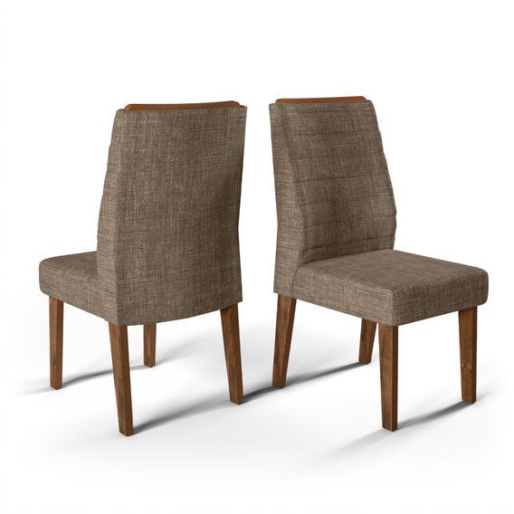 Cadeira De Jantar  CURVATA TRUFA LINHO MARROM- CONJUNTO COM 2 CADEIRAS