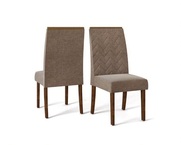 Cadeira De Jantar LAURA TRUFA LINHO MARROM - CONJUNTO COM 2 CADEIRAS