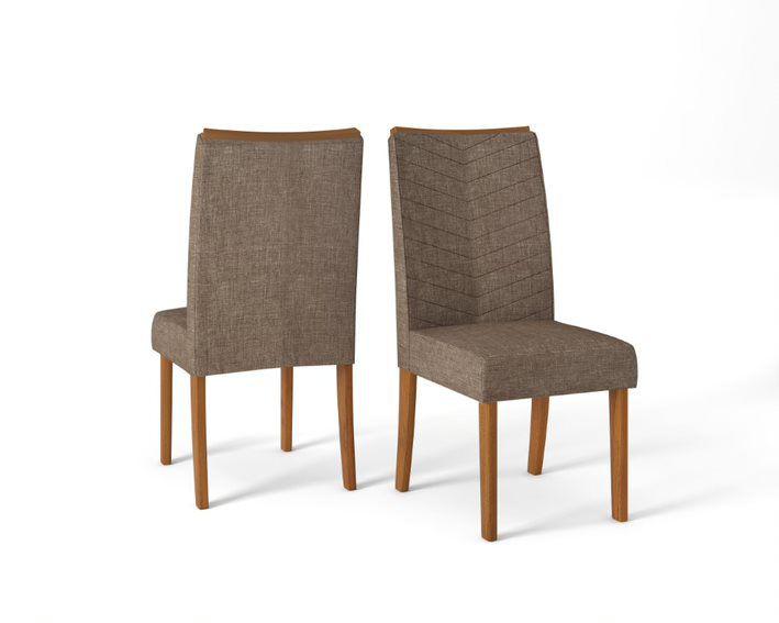 Cadeira De Jantar LUCILA TELHA LINHO MARROM- CONJUNTO COM 2 CADEIRAS
