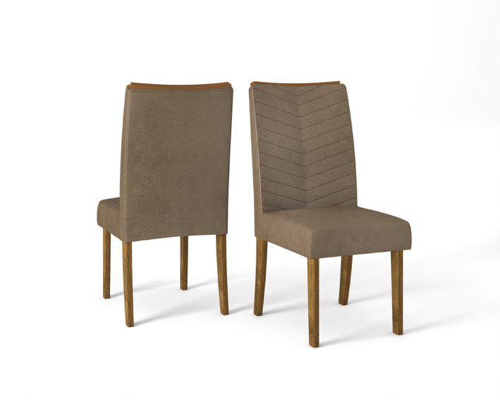 Cadeira De Jantar  LUCILA TRONCO RIPADO CAMURÇA - CONJUNTO COM 2 CADEIRAS