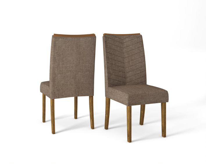 Cadeira De Jantar LUCILA TRONCO RIPADO LINHO MARROM- CONJUNTO COM 2 CADEIRAS