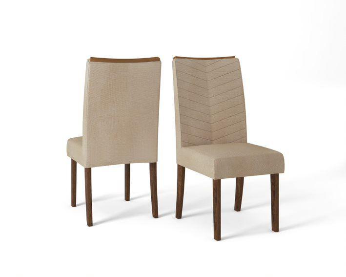 Cadeira De Jantar LUCILA  TRUFA LINHO ÁRIDO- CONJUNTO COM 2 CADEIRAS