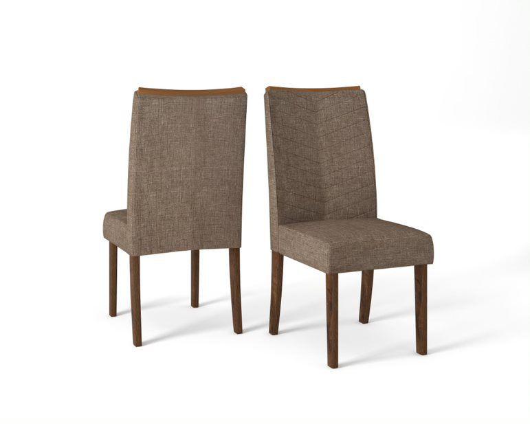 Cadeira De Jantar LUCILA TRUFA LINHO MARROM -CONJUNTO COM 2 CADEIRAS