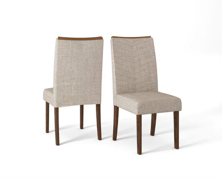 Cadeira De Jantar LUCILA TRUFA LINHO URBANO- CONJUNTO COM 2 CADEIRAS