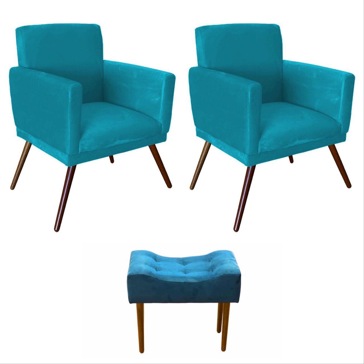 Kit 02 Poltrona Decorativa Nina com rodapé e Puff retangular Azul