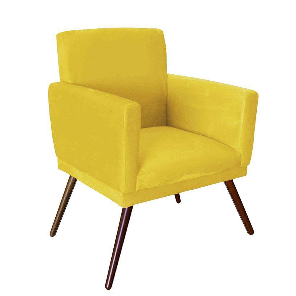 Kit 02 Poltrona Decorativa Nina com rodapé Amarelo