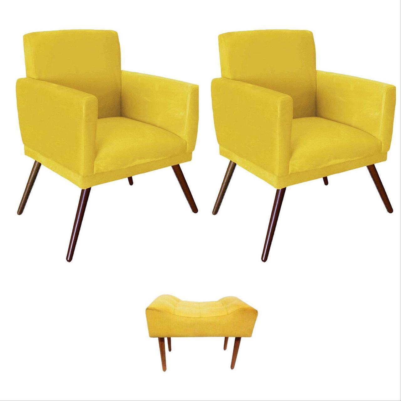 Kit 02 Poltrona Decorativa Nina com rodapé e Puff retangular Amarelo