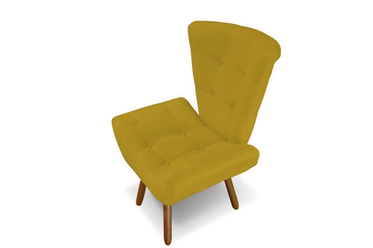 Kit 02 Poltronas Decorativa Emilia Amarelo