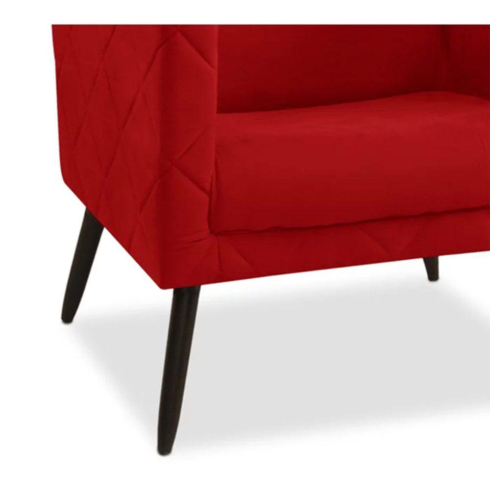 Kit 02 Poltronas Decorativa Maisa Suede Vermelho - D'Less
