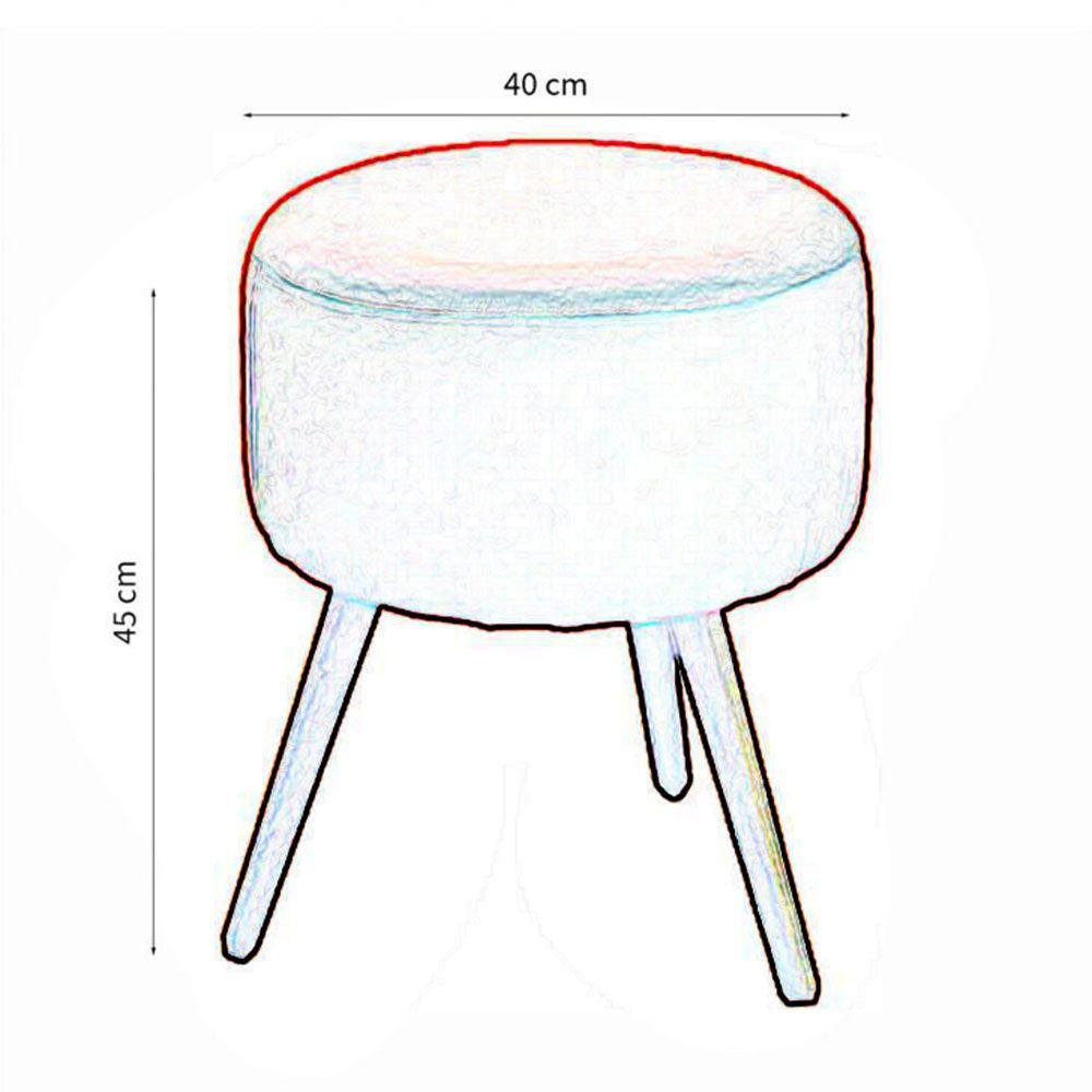Kit 02 Poltronas Decorativa Nina com rodapé e Puff redondo Marinho