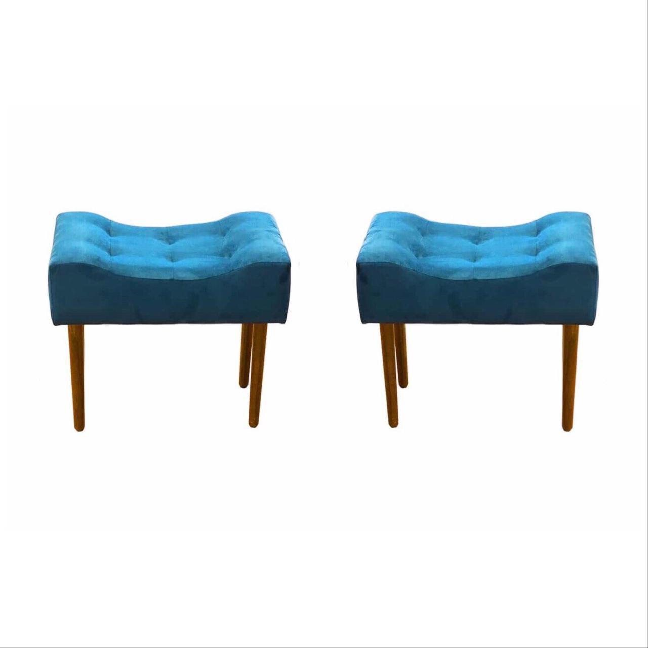 Kit 02 Puff Decorativo Retangular com pés madeira Azul