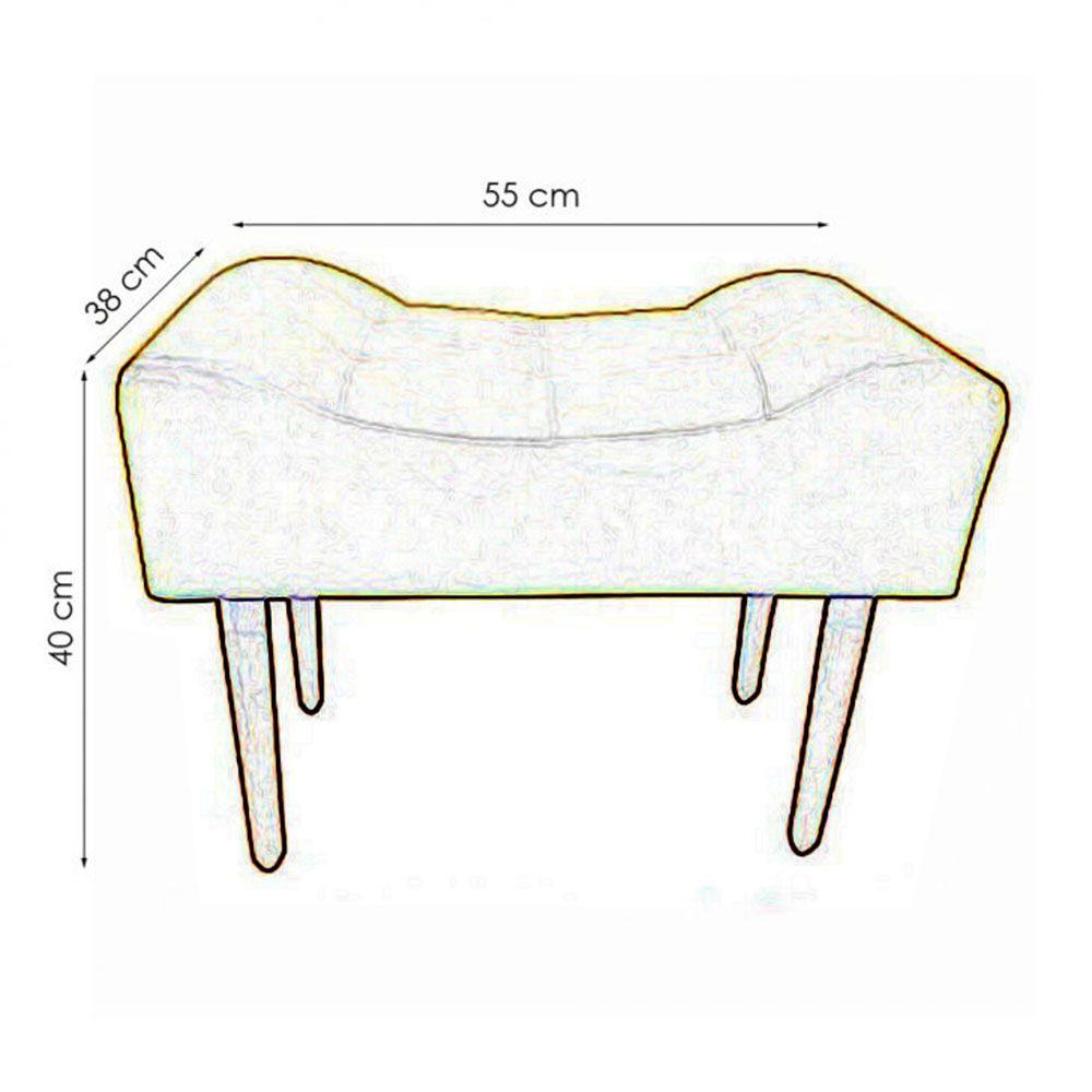 Kit 02 Puff Decorativo Retangular com pés madeira Preto