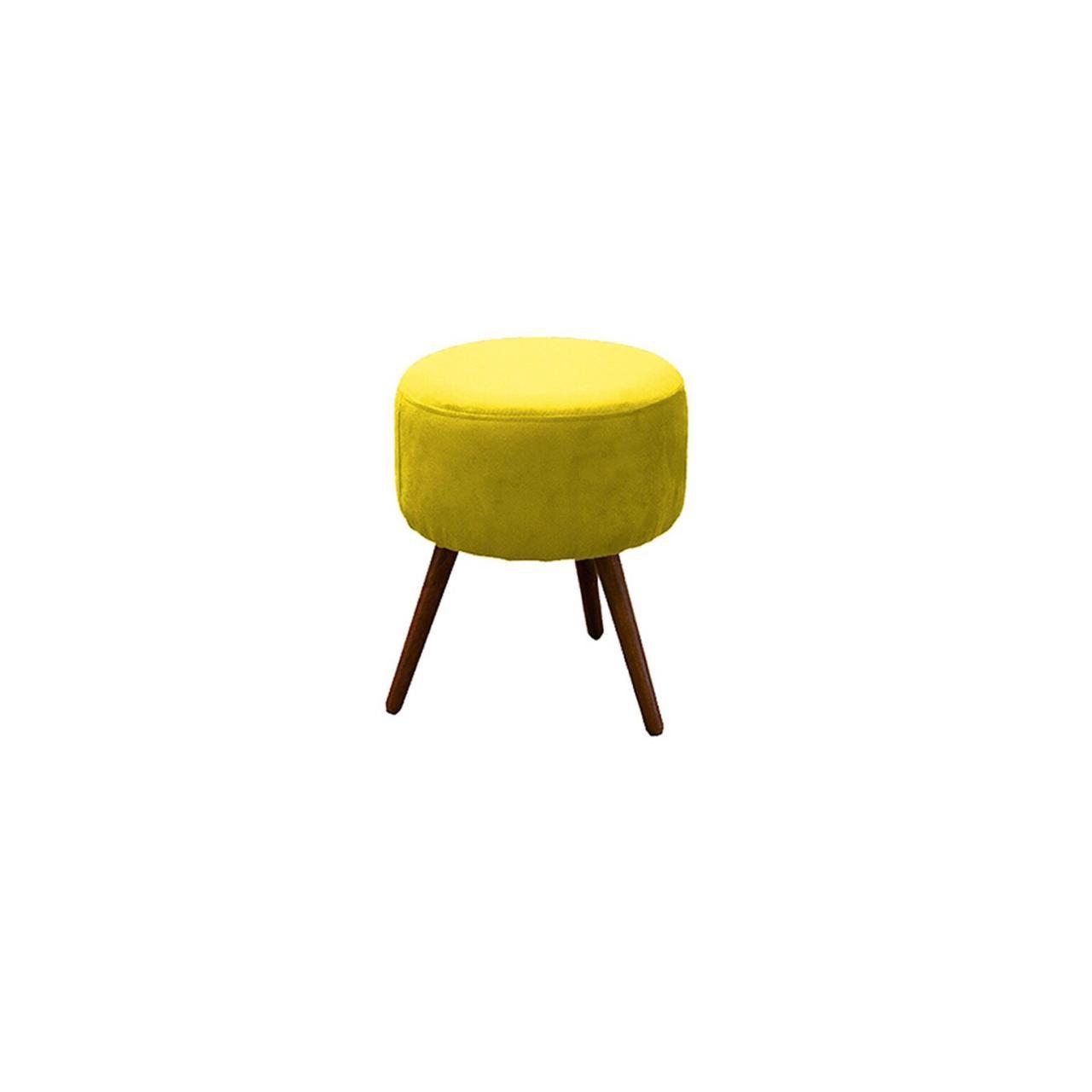 Kit Poltrona Decorativa Nina com rodapé e Puff redondo amarelo