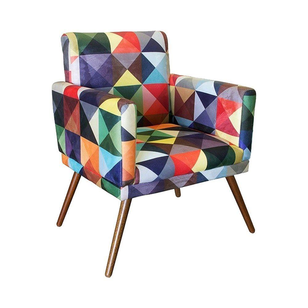 Kit Poltrona Decorativa Nina com rodapé e Puff redondo Triângulos