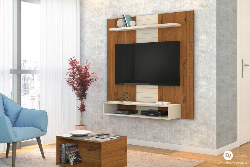 Painel Home Suspenso Smart Rústico Terrara/Off White - DJ Móveis
