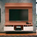 Painel para TV HB Móveis Livin 1.6 Nature Off White - HB Móveis