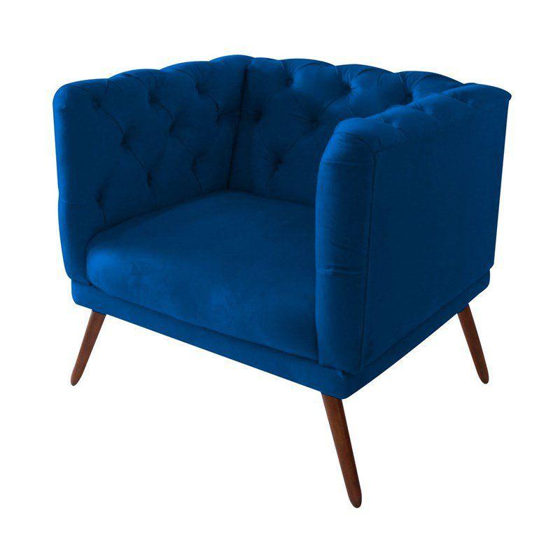 Poltrona Decorativa Capitone Tecido Sintético Azul Marinho
