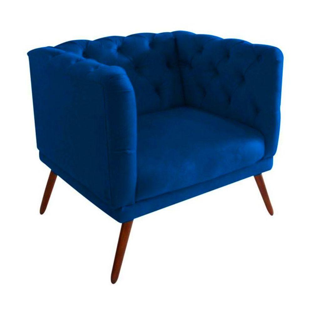 Poltrona Decorativa Capitone Suede Azul Marinho