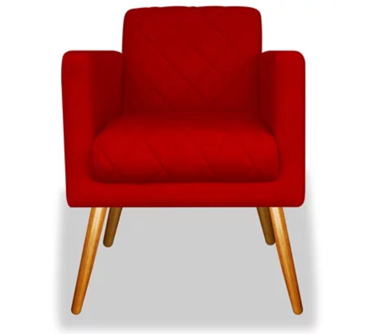 Poltrona Decorativa Charlote Vermelho c Rodapé
