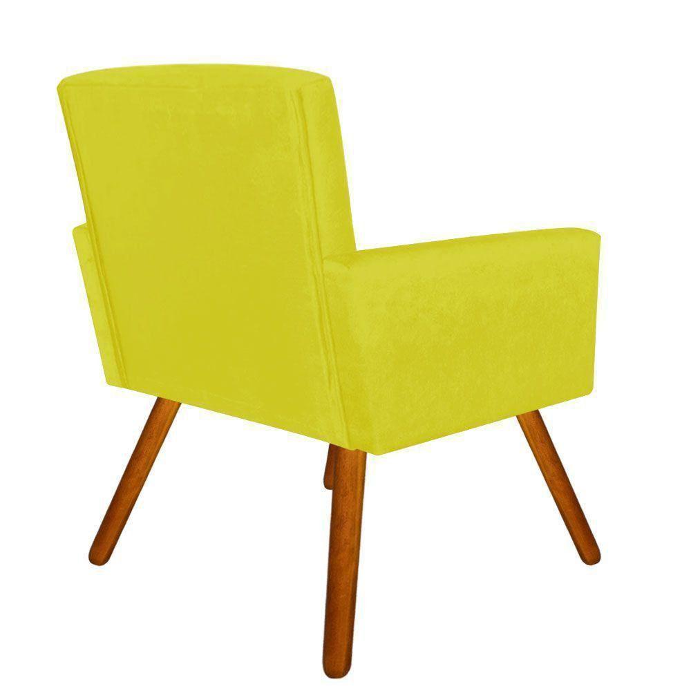 Poltrona Decorativa Nina Suede Amarelo