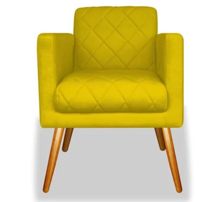 Poltrona Decorativa Suede Amarela c Rodapé