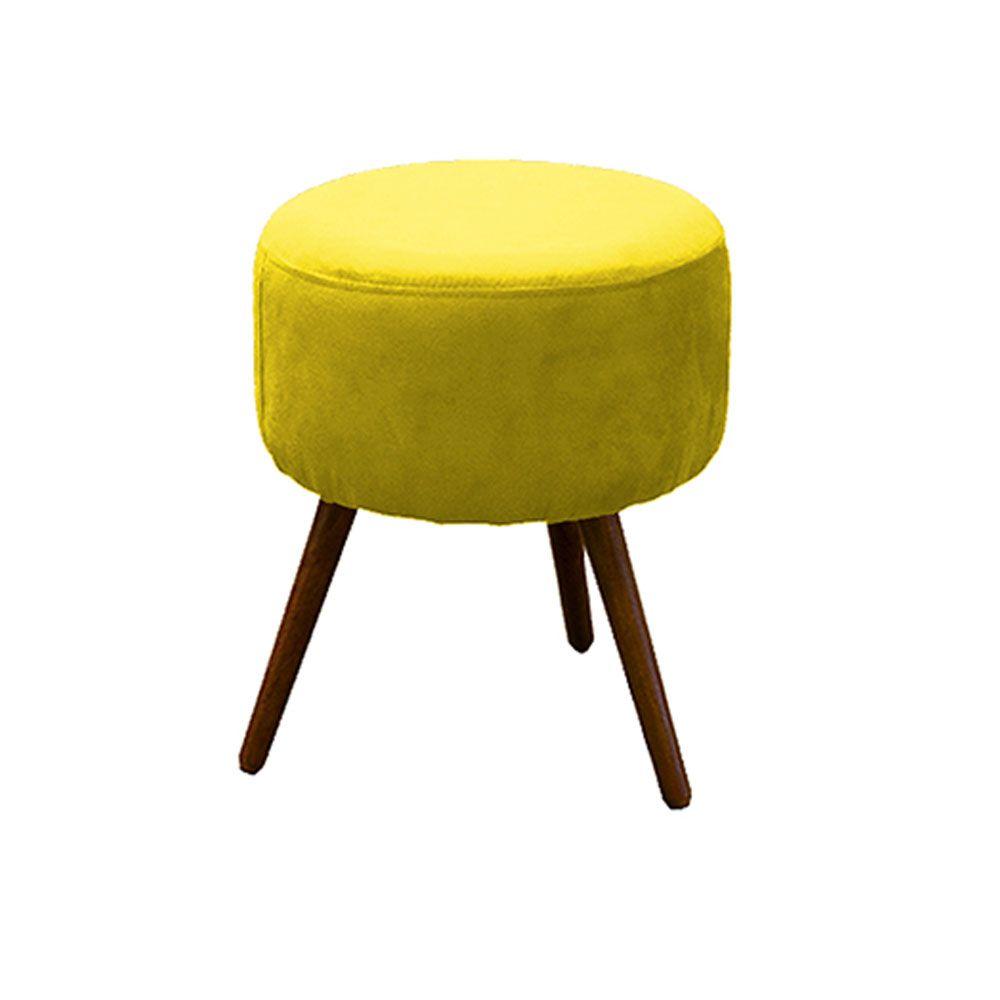 Puff Decorativo Redondo com Pés Madeira Suede Amarelo