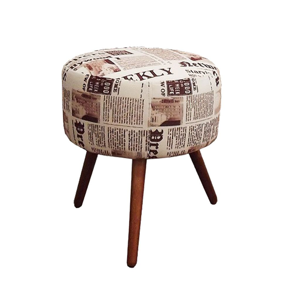 Puff Decorativo Redondo com Pés Madeira Suede Jornal