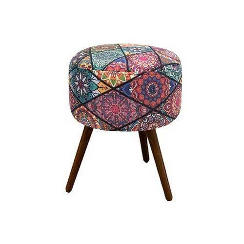 Puff Decorativo Redondo com Pés Madeira Suede Mosaico