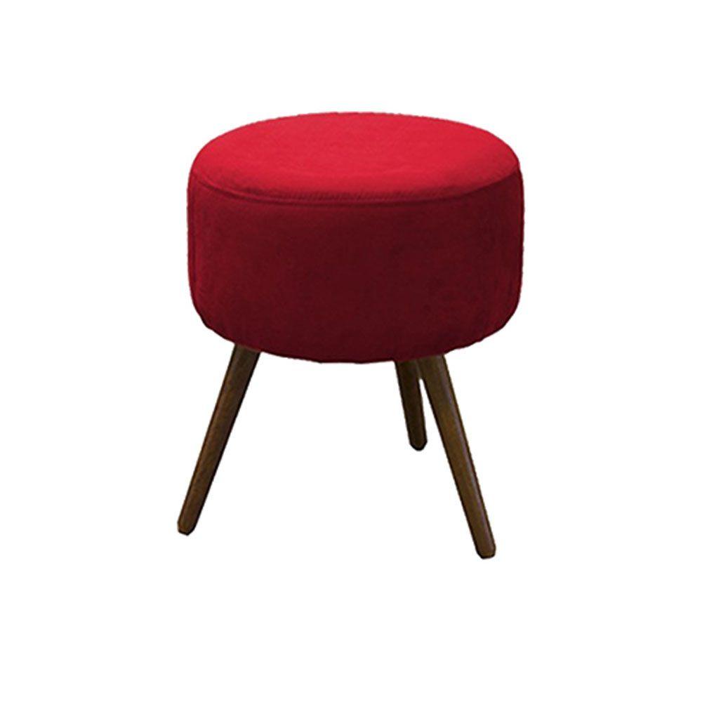 Puff Decorativo Redondo com Pés Madeira Suede Vermelho