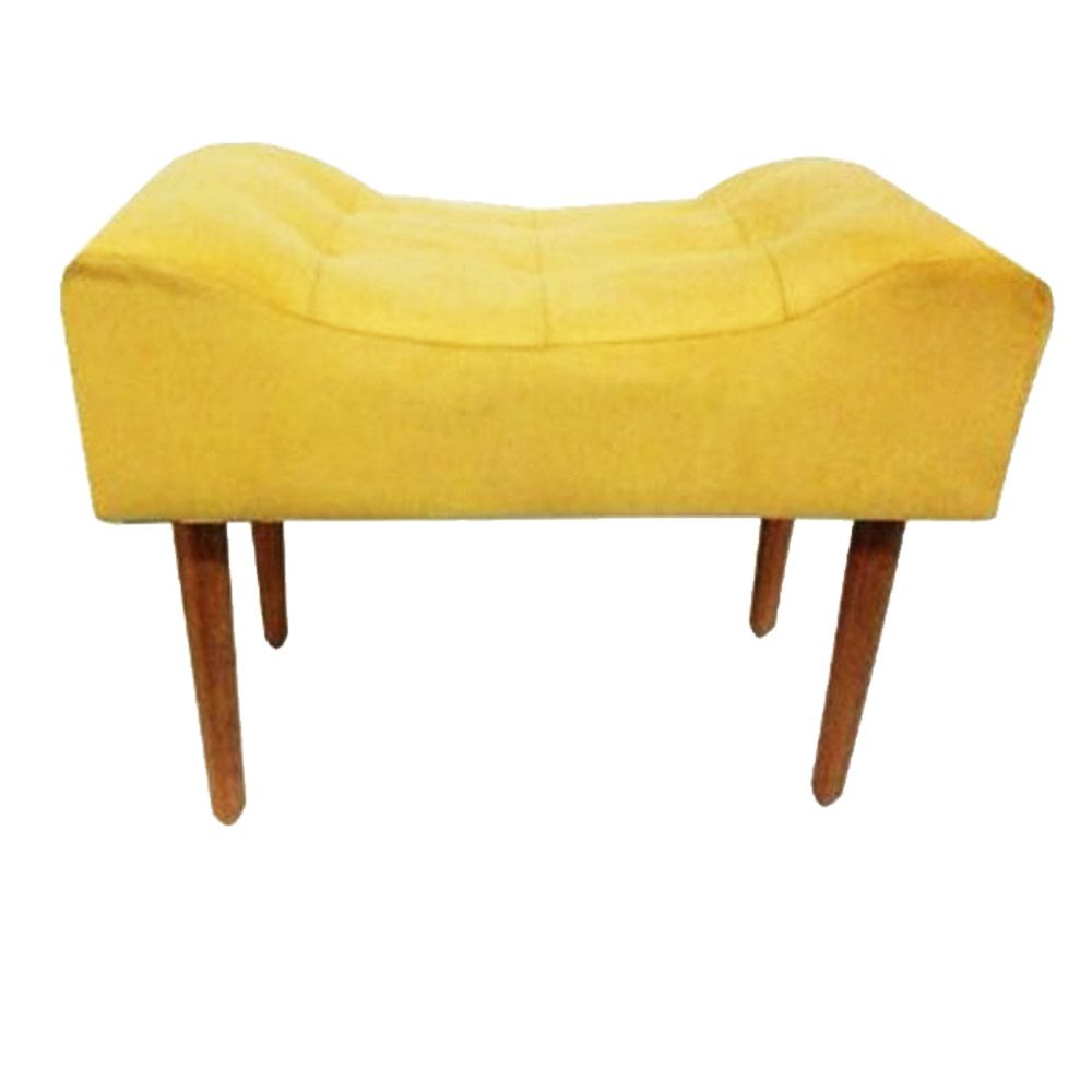 Puff Decorativo Retangular com Pés Madeira Suede Amarelo