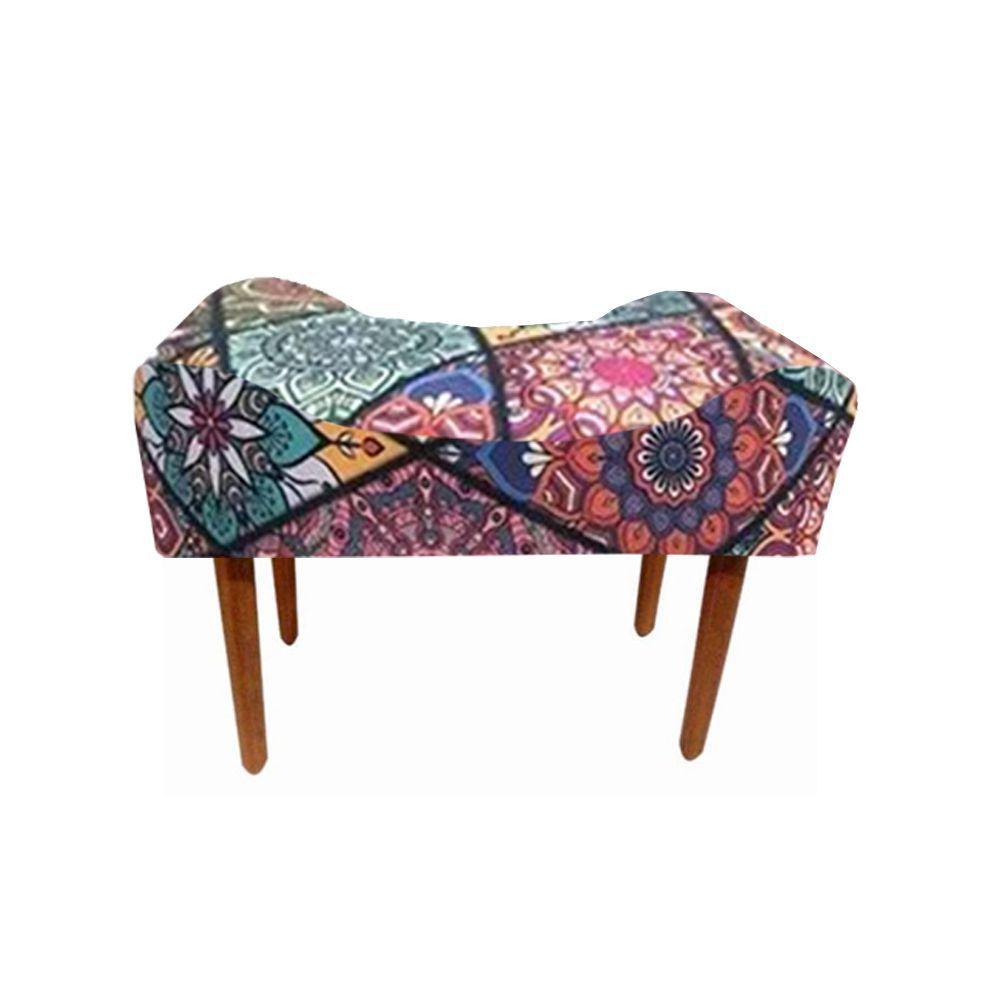 Puff Decorativo Retangular com Pés Madeira Suede Mosaico