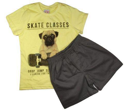 Conjunto Bebe Menino Camiseta Bermuda Sarja Infatil  - Manabana