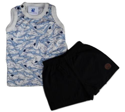 Conjunto Bebe Menino Camiseta Bermuda Sarja Bebe Black Friday  - Manabana